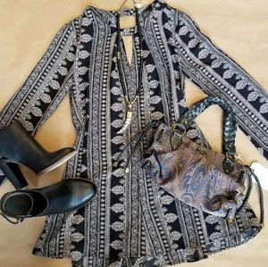 ASTR the Label Paisley Printed Long Sleeve Romper